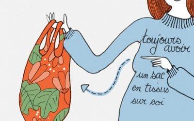 101 gestes écolos (3) Avoir un sac en tissus sur soi