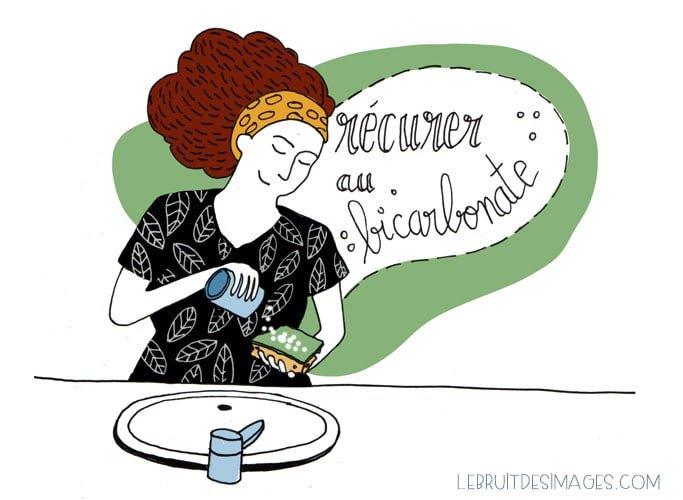 Geste écolo 22 : recurer au bicarbonate de soude - illustration Marina Le Floch