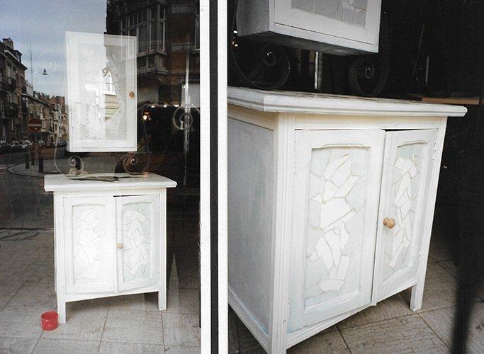 Marina Le Floch fausse mosaïque sur meuble