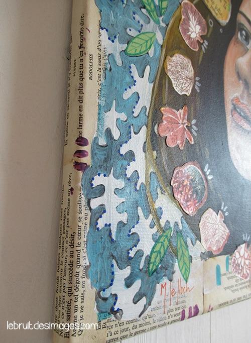 La fête est finie Fifi! Acrylique et collages sur toile tendue sur chassis, 40X40 cm