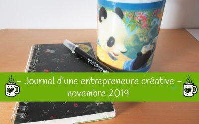 Journal d'une entrepreneure créative – Novembre 2019
