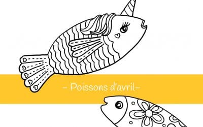 Poissons d'avril à colorier