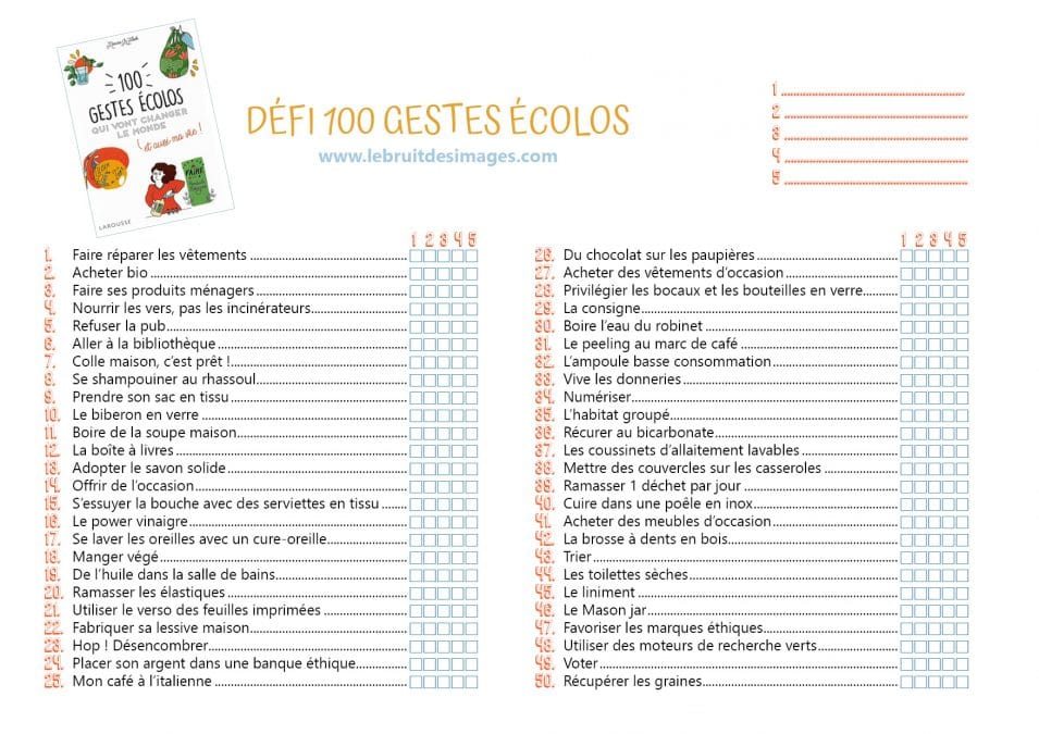 La to-do 100 gestes écolos