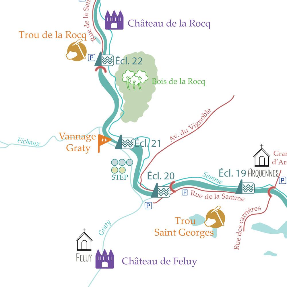 carte touristique ancien canal Bruxelles Charleroi